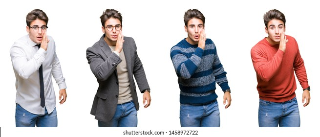 Collage of young handsome business man over isolated background hand on mouth telling secret rumor, whispering malicious talk conversation