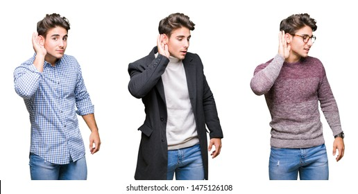 Collage of young handsome business man over isolated background smiling with hand over ear listening an hearing to rumor or gossip. Deafness concept.
