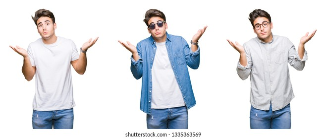 Collage of young handsome man over isolated background clueless and confused expression with arms and hands raised. Doubt concept.