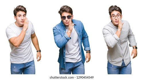 Collage of young handsome man wearing sunglasses over isolated background hand on mouth telling secret rumor, whispering malicious talk conversation