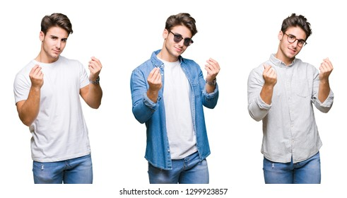 Collage of young handsome man wearing sunglasses over isolated background Doing money gesture with hand, asking for salary payment, millionaire business