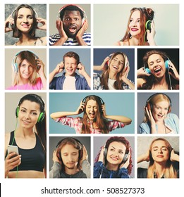 Collage of young happy people enjoying music. Leisure and entertainment concept.