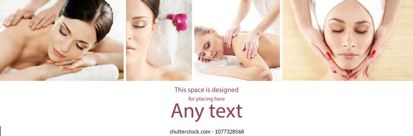 Collage with young and healthy woman relaxing in spa salon. Girl getting traditional oriental aroma therapy and massaging treatments. Healthcare and medicine concept.