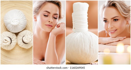 Collage with young and healthy woman relaxing in spa salon. Girl getting traditional oriental aroma therapy and massaging treatments.