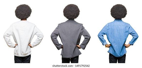 Collage of young man with afro hair over white isolated background standing backwards looking away with arms on body