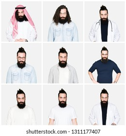 Collage of young man with beard and long hair over white isolated background skeptic and nervous, frowning upset because of problem. Negative person.