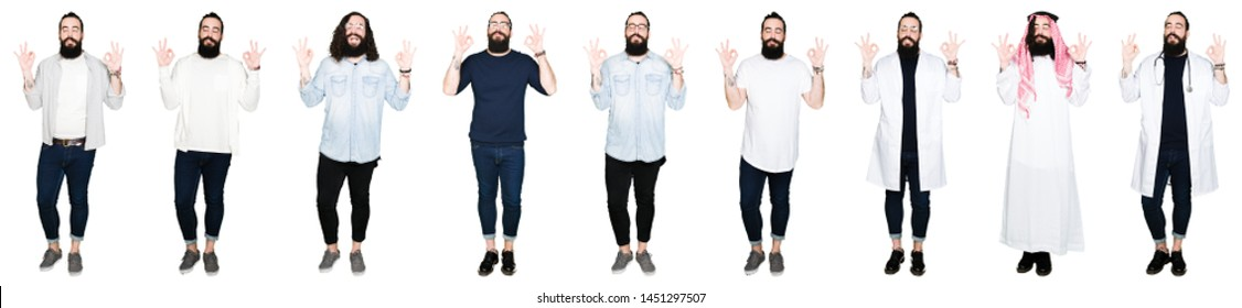 Collage of young man with beard and long hair over white isolated background relax and smiling with eyes closed doing meditation gesture with fingers. Yoga concept.
