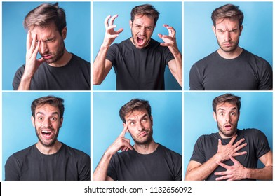 Collage of a young man expressing six different emotions, anxiety, headache, anger, frowning, happiness, curiosity and shock
