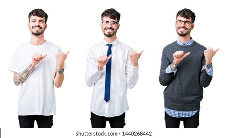 Collage of young man over isolated background Pointing to the back behind with hand and thumbs up, smiling confident