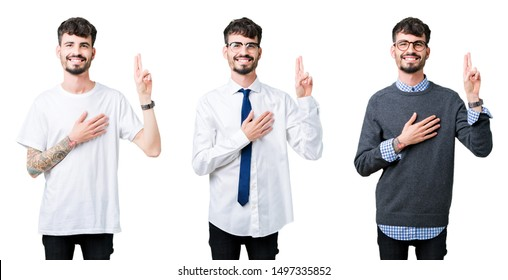Collage of young man over isolated background Swearing with hand on chest and fingers, making a loyalty promise oath