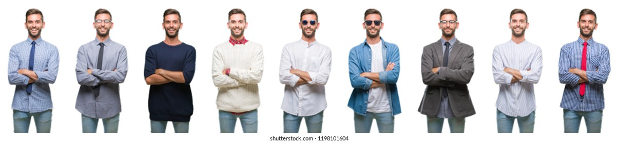 Collage of young man over white isolated backgroud happy face smiling with crossed arms looking at the camera. Positive person.