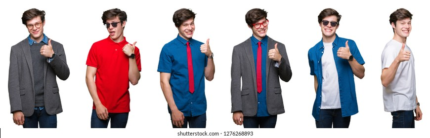 Collage of young man over white isolated background doing happy thumbs up gesture with hand. Approving expression looking at the camera with showing success.