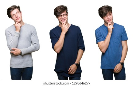 Collage of young man over white isolated background with hand on chin thinking about question, pensive expression. Smiling with thoughtful face. Doubt concept.