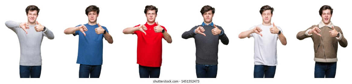 Collage of young man over white isolated background Doing thumbs up and down, disagreement and agreement expression. Crazy conflict