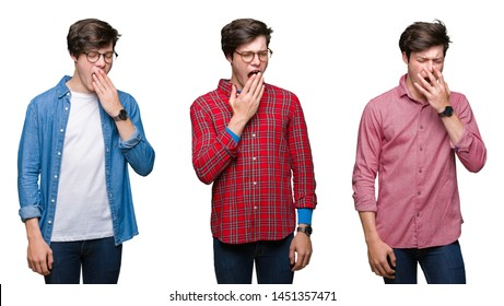 Collage of young man over white isolated background bored yawning tired covering mouth with hand. Restless and sleepiness.