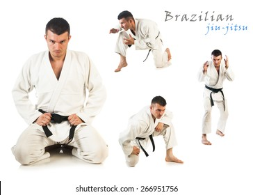 Collage with young man practicing Brazilian jiu-jitsu (BJJ) isolated on white background