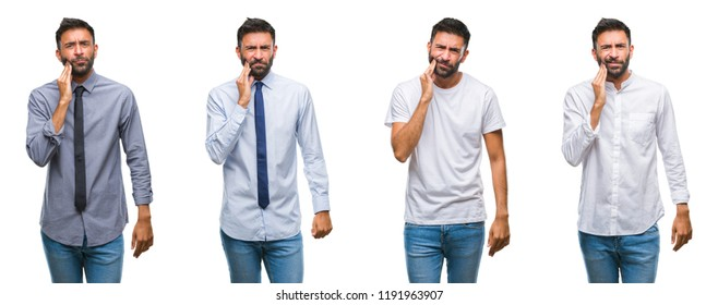 Collage of young man wearing casual look over white isolated backgroud touching mouth with hand with painful expression because of toothache or dental illness on teeth. Dentist concept.