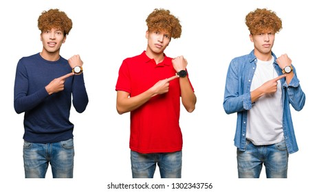 Collage of young man wearing different looks over isolated white background In hurry pointing to watch time, impatience, upset and angry for deadline delay