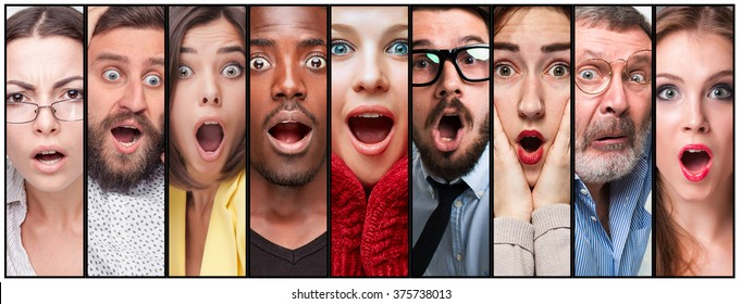 The collage of young man and woman face expressions