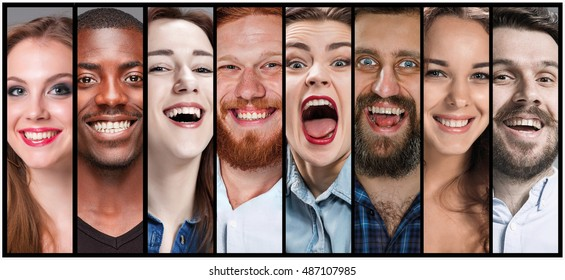 The collage of young man and woman smiling face expressions