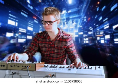 Collage with young musician sits and plays electric organ in night club