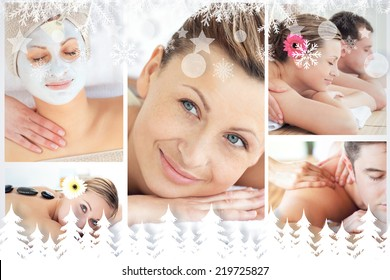 Collage of young people having relaxation treatments against fir tree forest and snowflakes