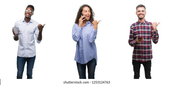 Collage of young people talking and texting using smartphone over isolated background pointing and showing with thumb up to the side with happy face smiling