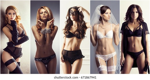 Collage of young and sexy models in fashion erotic lingerie. Glamour, vogue, fashion concept.