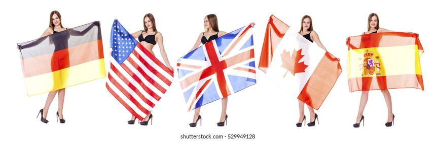 Collage of young sexy woman holding various flags of the world