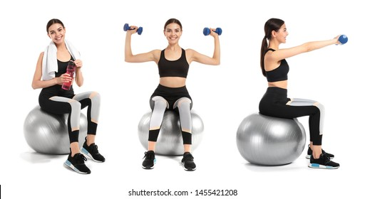 Collage with young sporty woman and fitball on white background