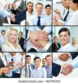 Collage of young successful business people