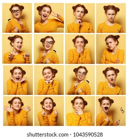 collage of young  woman different facial expressions over yellow background