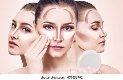 Collage of young woman's faces with contouring makeup. Over beige background.