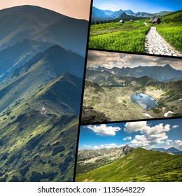Collage of Zakopane mountains national park in Polonia