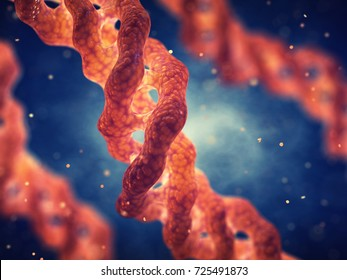 Collagen triple helix molecule , Collagen is the main component of connective tissue , 3d illustration