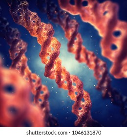 Collagen triple helix molecule structure , Skin anti-aging therapy , 3d illustration