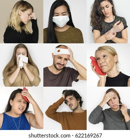 Collages diverse people illness symptoms