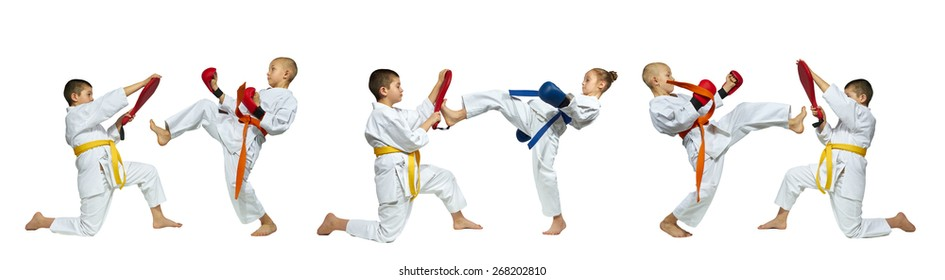 Collages karate kicks on a white background