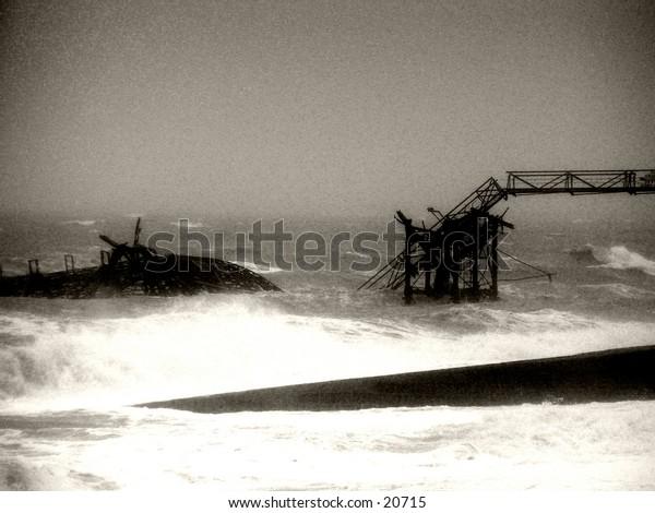 Collapse: Debris of the Old Brighton Pier.