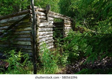 Collapsed barn