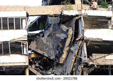 Collapsed big building after strong earthquake disaster