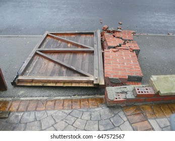 Collapsed brick wall