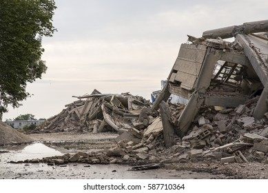 Collapsed industrial building