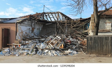 Collapsed One Story House Earthquake Natural Disaster
