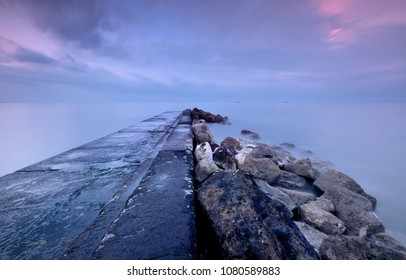 Collapsed pontoon  , maritime landscape ,Abstracts