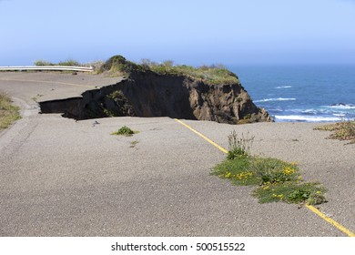 Collapsed portion of old HWY 1 on California coast.