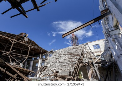 Collapsed roof in an old factory