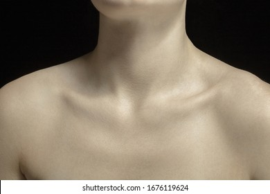 Collarbones. Detailed texture of human skin. Close up shot of young caucasian female body. Skincare, bodycare, healthcare, hygiene and medicine concept. Looks beauty and well-kept. Dermatology.
