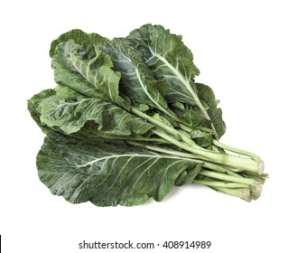 Collard greens isolated on white