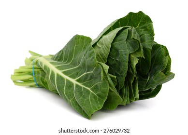 collard greens leaves on white background
